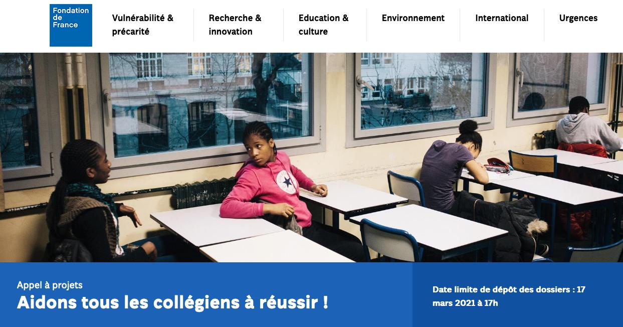 """Appel à projet 2021 """"Aidons tous les collégiens"""""""